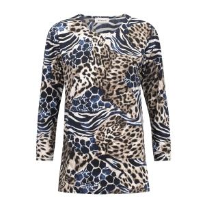 Shirt Bruin Zwart Kobalt Dierenprint