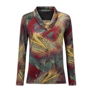 Shirt Oker Olijf Print