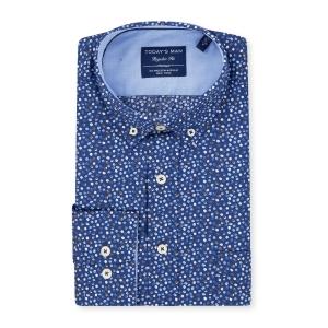 Overhemd Blauw Bolletje-Bruin