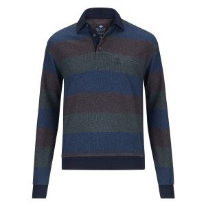 Sweater Jeansblauw Mosgroen-Bruin Streep