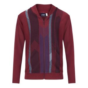 Vest Bordeaux-Streep Blauw Rits