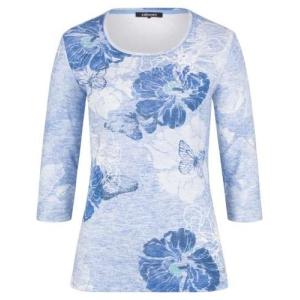 Shirt Lichtblauw-Blauw Bloem