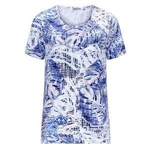 Shirt Jeansblauw-Taupe Blad