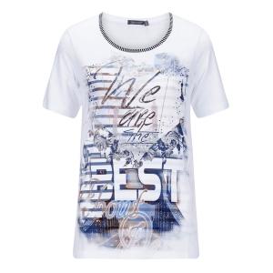 Shirt Wit-Marine Tekst