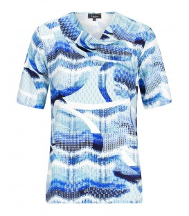 Shirt Korenblauw-Wit Print