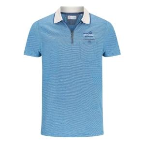 Poloshirt Blauw Melee-Zand Kraag