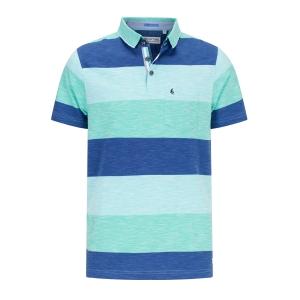 Poloshirt Streep -Aqua Rafblauw