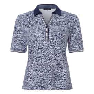 Poloshirt Marine-Wit Print