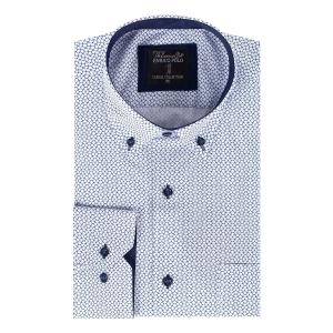 Overhemd Wit-Grijs Motiefje