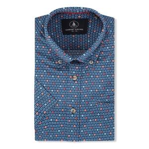 Overhemd Jeansblauw Koraal-Vlakje KM