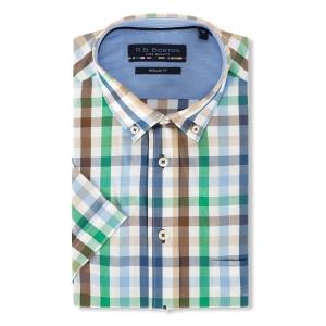 Overhemd Blauw Groen-Ruit KM