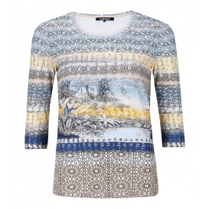 Shirt Zachtblauw Geel-Palm