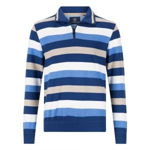 Sweater Streep Jeansblauw-Zand
