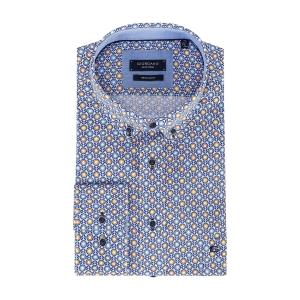 Overhemd Blauw-Geel Bloemetje
