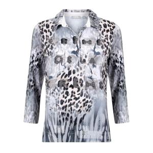 Poloshirt Grijs Taupe-Pantherprint