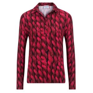 Poloshirt Rood Zwart-Kabel Patroon