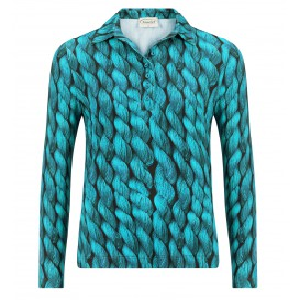 Poloshirt Smaragd Kabel Patroon