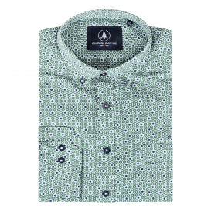 Overhemd Groen-Grijs Zeshoekje