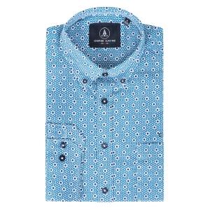 Overhemd Indigo-Grijs Zeshoekje