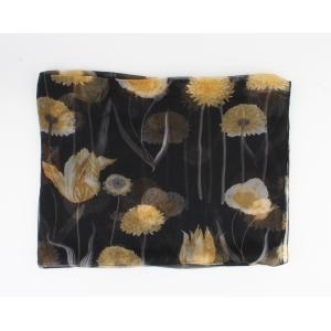 Sjaal Zwart-Honing Bloem