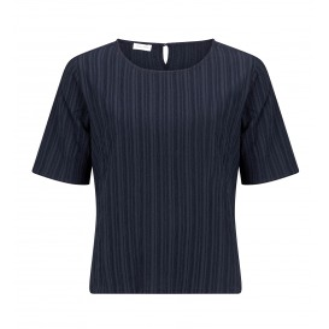 Shirt Marine-Streepjes Dessin Uni