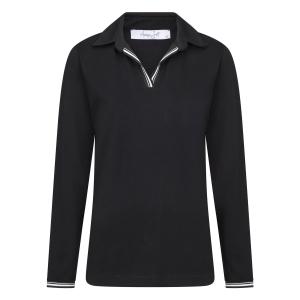 Poloshirt Zwart Uni-Zwart Wit Biesje