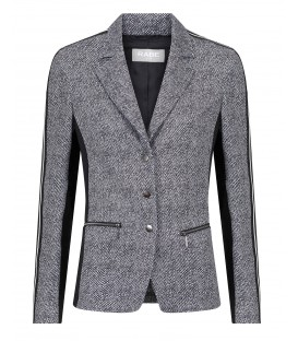 Blazer Zwart Wit-Tweed Look