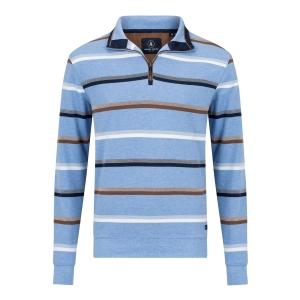 Sweater Lichtblauw-Bruin Streepje