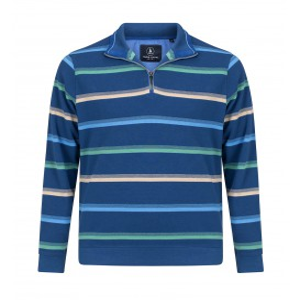 Sweater Middenblauw-Groen Streepje