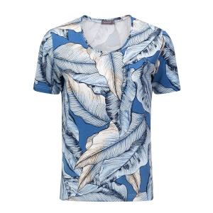 Shirt Jeansblauw Zand Blad