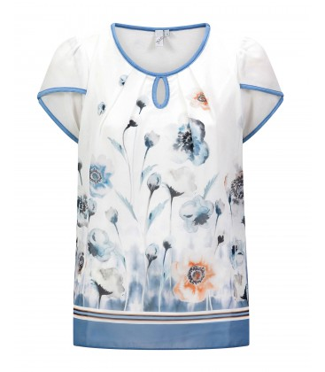 Shirt Wit Blue-Bloem Organza