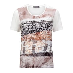 Shirt Antraciet-Offwhite Rozen