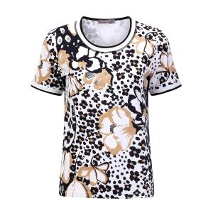 Shirt Taupe-Zwart Bloemen
