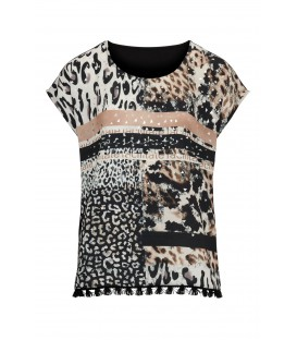 Shirt Animal-Zwart Zand kwastjes