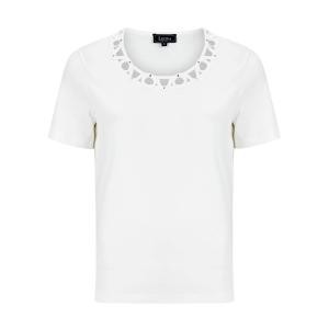 Shirt Off White Open Gewerkte Hals