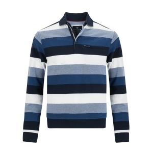 Sweater Marine Kobalt Streep Knoop