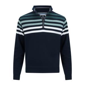 Sweater Marine Groen Streep Rits