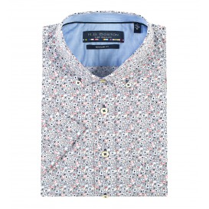 Overhemd Blue Rood Grafisch KM