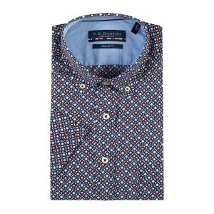 Overhemd Blauw Rood Bloemetje KM