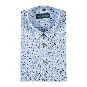 Overhemd Blauw Zand Cirkels