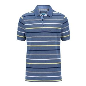 Poloshirt Jeansblauw Geel Streep