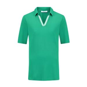 Poloshirt Cool Green Streepbies Wit