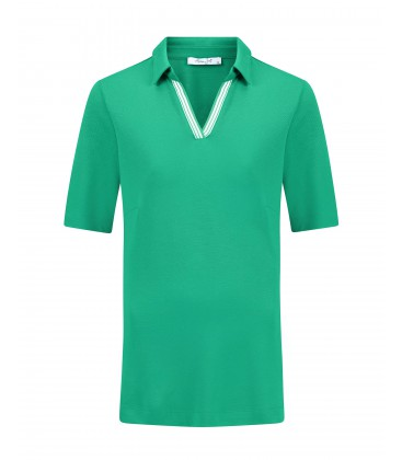 Poloshirt Cool Green Streepbies Wit