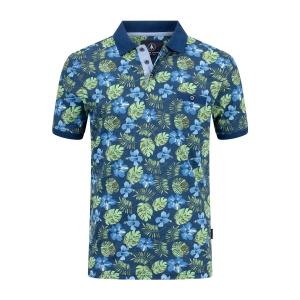 Poloshirt Indigo Groen Plant Print