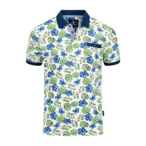 Poloshirt Off White Indigo Groen Plant Print