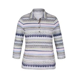 Poloshirt Khaki Bleu Roze Raam Stip