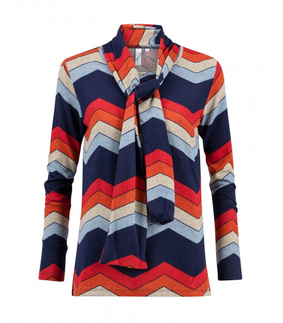 Shirt Marine Brique Zigzag Warm