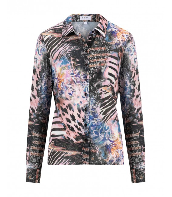 Blouse Dierenprint Kant Multicolor