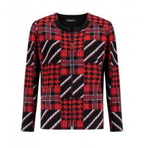 Vestjasje Rood Zwart Patchwork Print