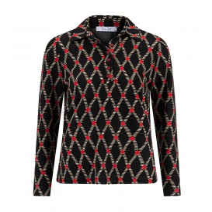 Poloshirt Zwart Rood Wybermotief